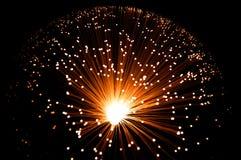 Goldene fiberoptische Stränge. Lizenzfreie Stockfotografie