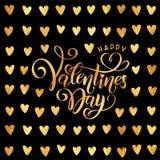 Goldene Folie des Vektors handgeschriebener beschriftender glücklicher Valentinsgruß-Tag Valentinsgruß-Tagesherzgoldmuster Text d vektor abbildung