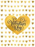 Goldene Folie des Vektors handgeschriebener beschriftender glücklicher Valentinsgruß-Tag Valentinsgruß-Tagesherzgoldmuster Text d stock abbildung
