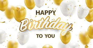 Goldene Folienkonfettis der alles- Gute zum Geburtstagvektor Feierparteifahne und Weiß- und Funkelngoldballone stockfotografie