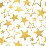 Goldene Foliensterne lokalisiert auf weißem nahtlosem Muster Lizenzfreies Stockbild