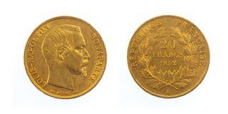 Goldene französische Münze Lizenzfreie Stockfotografie