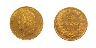 Goldene französische Münze Lizenzfreies Stockfoto