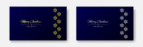 Goldene frohe Weihnachten u. Flocke lizenzfreie abbildung