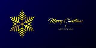 Goldene frohe Weihnachten u. Flocke weit vektor abbildung