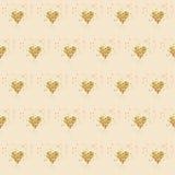 Goldene Funkelnherzen auf Rosa Mit Ziegeln gedeckter abstrakter Hintergrund Glänzender Hintergrund des endlosen Lamettas Valentin Lizenzfreie Stockbilder