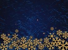 Goldene Funkelnschneeflocken auf dunklem Hintergrund Kann für De verwendet werden stock abbildung