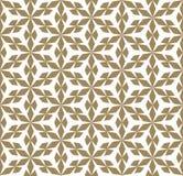 Goldene geometrische nahtlose Musterbeschaffenheit des Vektors mit Blumenformen, Schneeflocken lizenzfreie abbildung