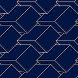 Goldene geometrische Verzierung auf blauem Hintergrund Nahtloses Muster Stockfotos