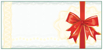 Goldene Geschenk-Bescheinigung oder Rabatt-Kupon Lizenzfreies Stockfoto