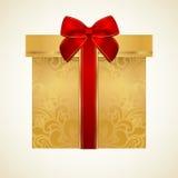 Goldene Geschenkbox mit rotem Bogen (Band). Geschenk lizenzfreie abbildung