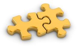 Goldene Gijsaw Puzzlespiel-Stücke Stockfotos