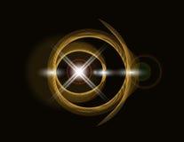 Goldene glänzende Schleife auf einem dunklen Hintergrund Heller Stern Abstraktion Abbildung Lizenzfreie Stockfotos
