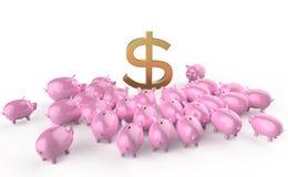 Goldene glatte piggybank Schweine, die um grünes Dollarzeichen sich drängen Metapher von Sparguthaben in der Krise Hohe Qualität Lizenzfreies Stockbild