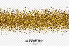 Goldene glänzende Tinsel Square Particles Vector Background Stockfotografie