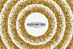 Goldene glänzende Tinsel Square Particles Vector Background Stockbild