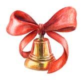 Goldene Glocke des Aquarells Lizenzfreie Stockfotografie