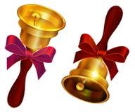 Goldene Glocke mit rotem Bogen Letzter Anruf des Feiertags in der Schule vektor abbildung