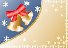 Goldene Glocken mit einer roten Schleife Lizenzfreie Stockfotos
