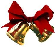 Goldene Glocken mit rotem Bogen lizenzfreie abbildung