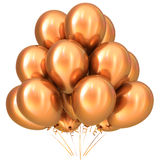 Goldene Goldpartei steigt alles- Gute zum Geburtstagdekorationsgelb im Ballon auf stock abbildung