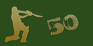 Goldene halbe Jahrhundert oder begrenztes Überschuss-Kricket Banne vektor abbildung