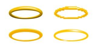 Goldene Halovektorillustration in vier verschiedenen Arten Stockfotografie