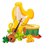 Goldene Harfe, Trommel, Violine Stockfoto
