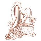 Goldene Harfe, Trommel, Violine Stockbilder