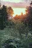 Goldene Herbstszene des Sonnenaufgangs in der Gartenmannheim-Kälte lizenzfreie stockbilder