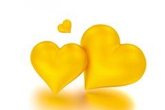Goldene Herzen - 3D übertragen Stockfotografie