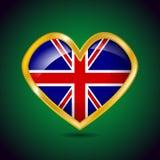 Goldene Herzform mit der Flagge von Großbritannien Lizenzfreie Stockbilder
