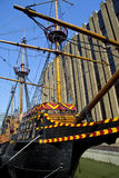 Goldene Hind Galleon Ship in London Stockbild