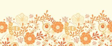 Goldene horizontale mit Blumengrenznahtloses Muster Stockbild