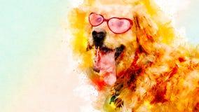 Goldene Hundeillustration mit strukturiertem Hintergrund des Spritzenaquarells goldener Hund des ungewöhnlichen Illustrationsaqua lizenzfreies stockbild