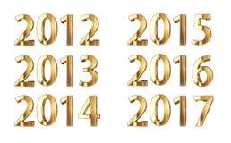 Goldenes Jahr nummeriert 2012-2017 Lizenzfreie Stockfotos
