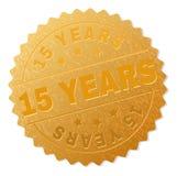 Goldene 15 JAHRE Medaillen-Stempel stock abbildung