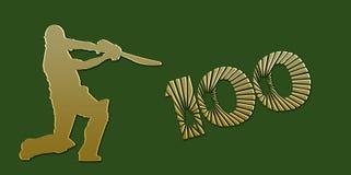 Goldene Jahrhundert-Kricket-Fahne auf Grün vektor abbildung