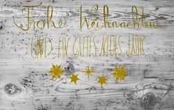 Goldene Kalligraphie Gutes Neues bedeutet guten Rutsch ins Neue Jahr Stockfoto