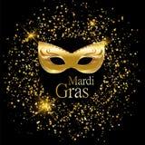 Goldene Karnevalsmaske Mardi Grass mit Verzierungen für Plakat, Grußkarte, Parteieinladung, Fahne oder Flieger auf schwarzen Hint Stockbild