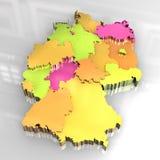goldene Karte 3d von Deutschland Stockbild