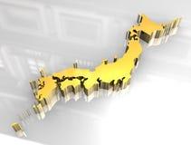 goldene Karte 3d von Japan Lizenzfreies Stockbild