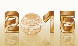 goldene Karte des neuen Jahres 2015 Lizenzfreie Stockfotos