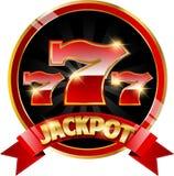 Goldene Kasinofahne mit Jackpot lizenzfreie abbildung