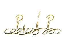 Goldene Kerzen: Aufkommen Wreath Stockfoto