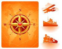 Goldene Kompaßrose, Weltkarte u. Retro- Transport Stockfotografie