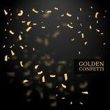 Goldene Konfettis Goldfunkelneffekt Vektorbild, Abbildung Vektorillustration auf schwarzem Hintergrund Stockbilder