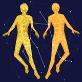 Goldene Konstellation auf einem blauen Hintergrund umgeben durch Linien und Sterne stock abbildung
