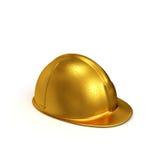 Goldene konstruierende Seitenansicht des Sturzhelms Stockfoto
