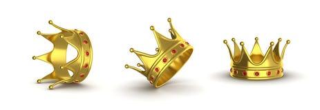Goldene Krone in den verschiedenen Positionen auf einem weißen Hintergrund ein Col. Stockbild